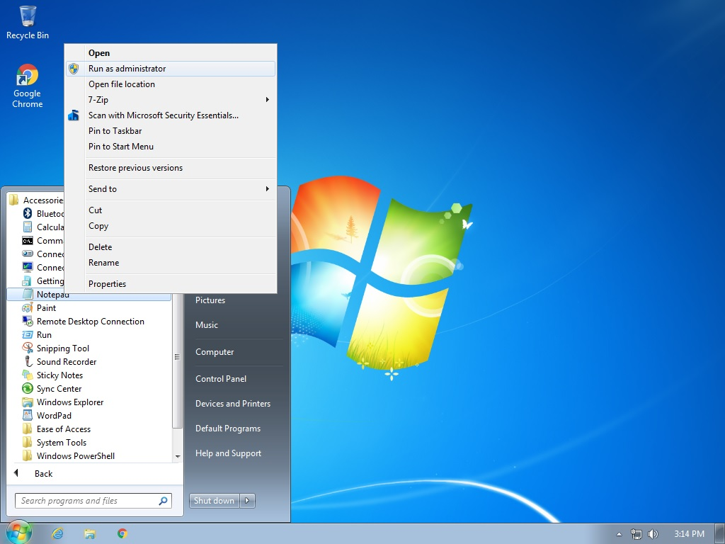 Windows 7 run Notepad as administrator
